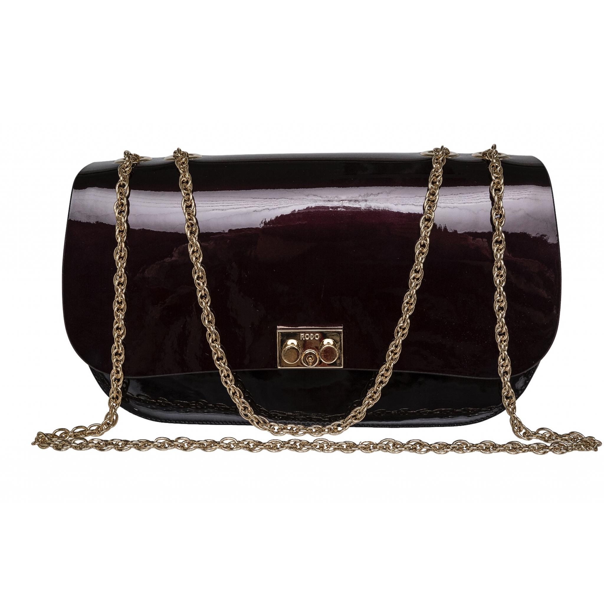Mini-Bag in Lackleder mit Kettenhenkel-0