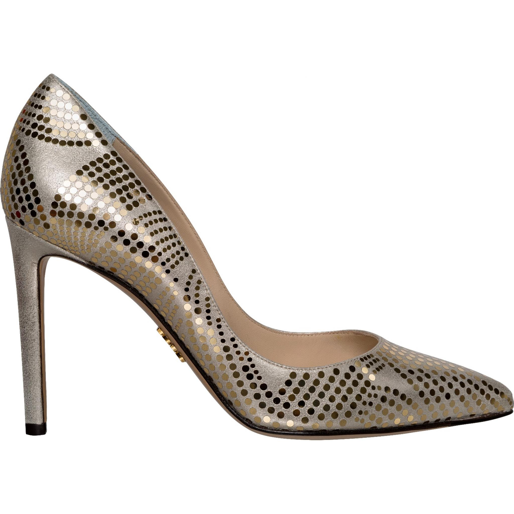 Pumps in Metallic-Leder mit Pailletten-Besatz-0
