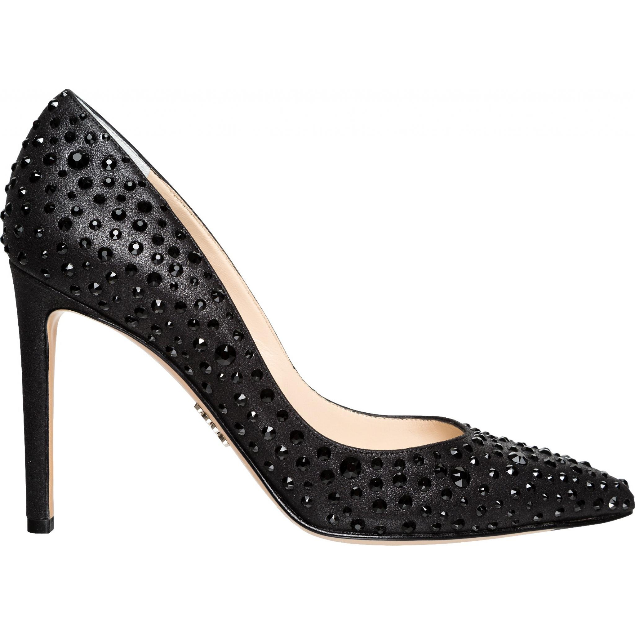 Pumps in Metallic-Leder mit Strass-Besatz-0