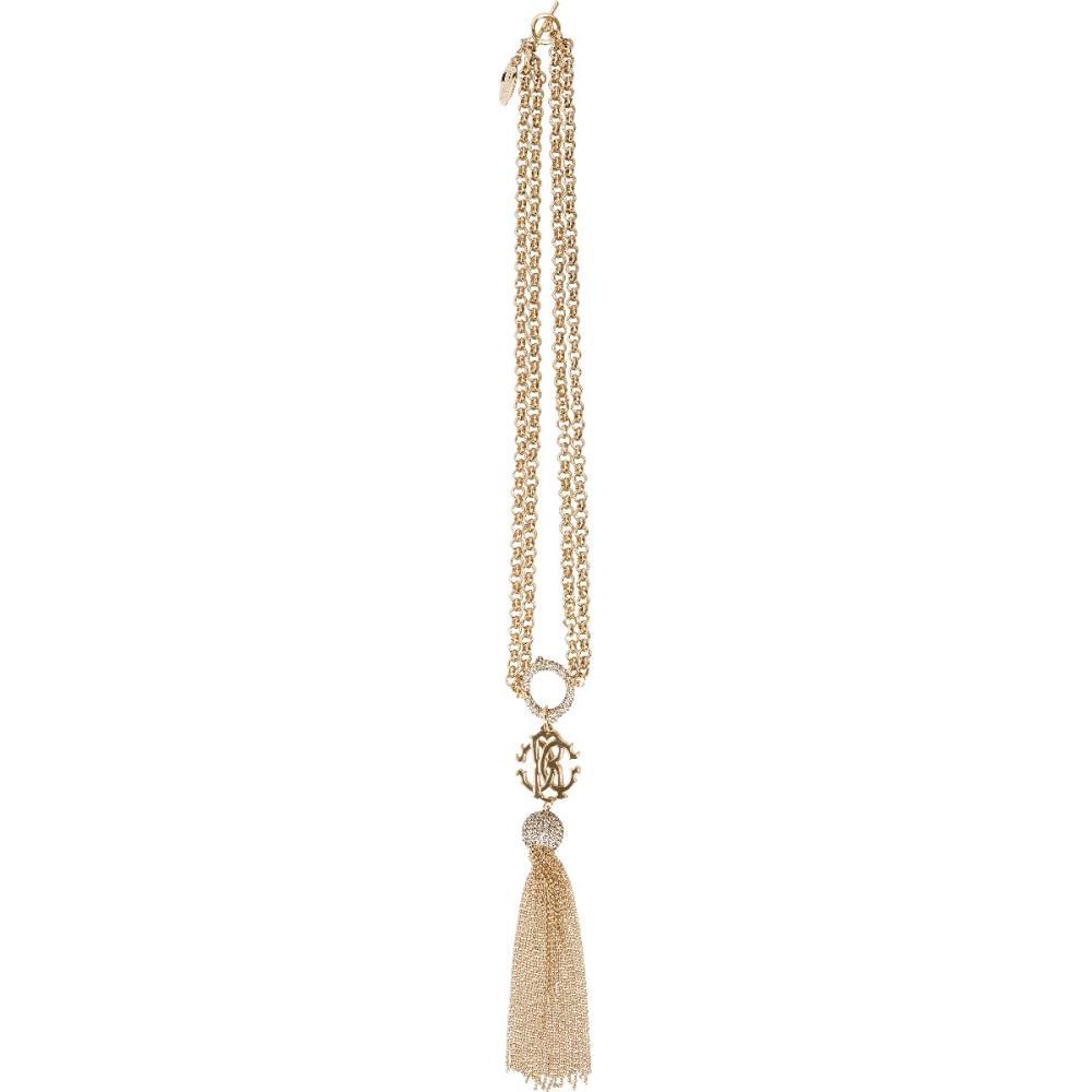 Doppelreihige Halskette mit Troddel-Element und Logo-Detail-0