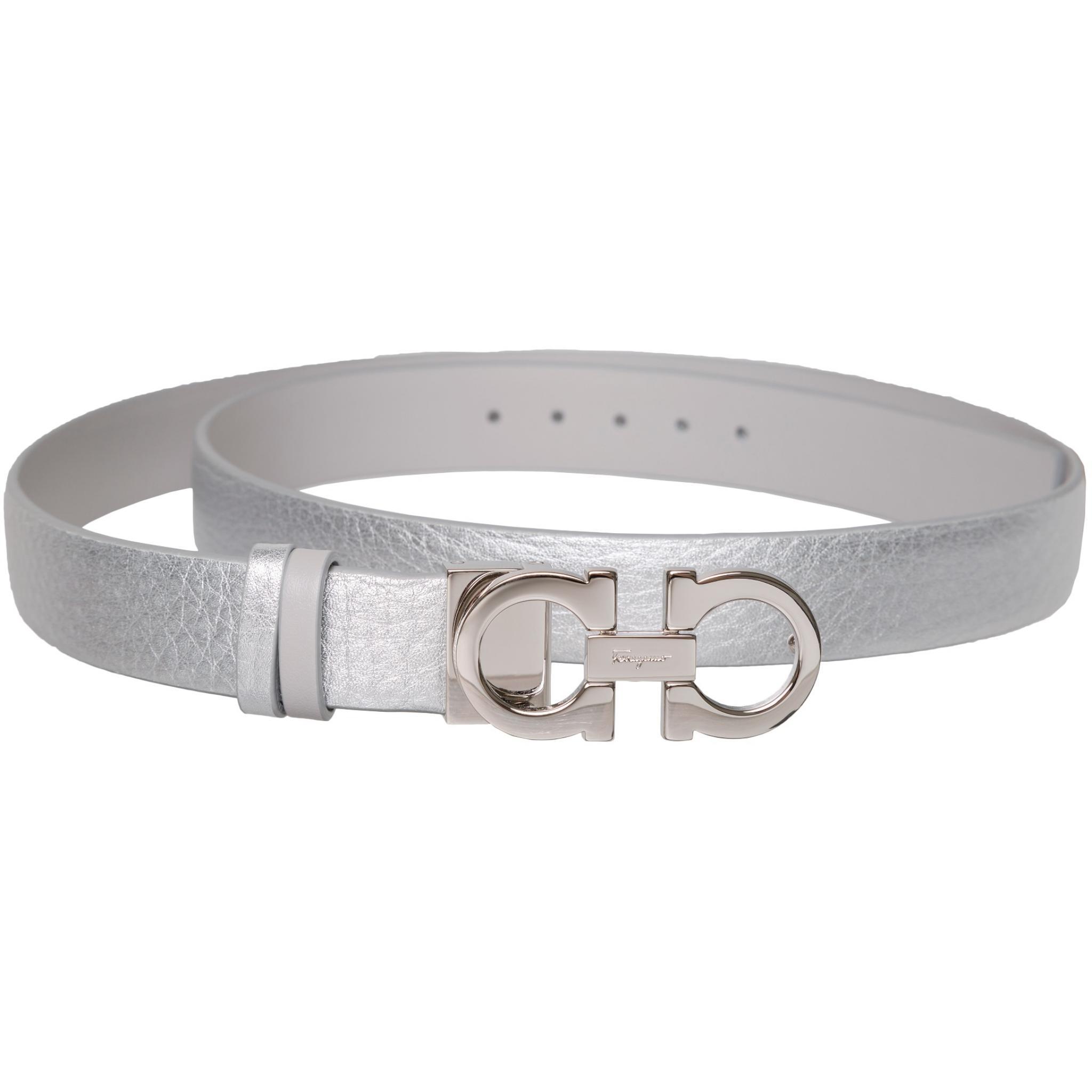Metallicleder-Gürtel mit Logo-Schnallenschließe-0