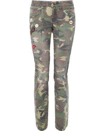 Jeans im Camouflage-Print mit Buttons und Applikationen-0
