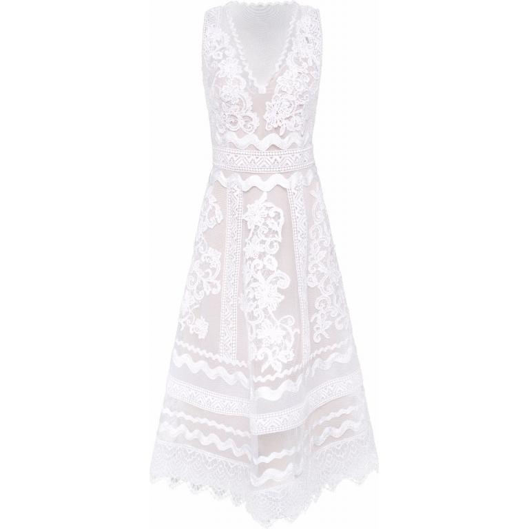 Tailliertes Maxi-Kleid in Spitze und Netz mit floralem Muster und Unterkleid-0