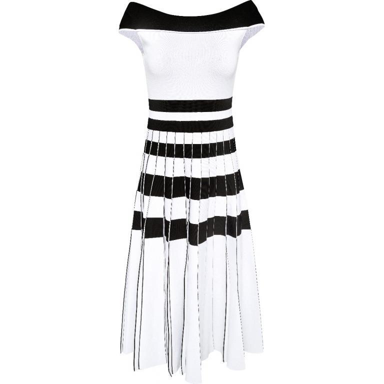 Off-Shoulder-Kleid in Midi-Länge mit plissiertem Rockteil-0
