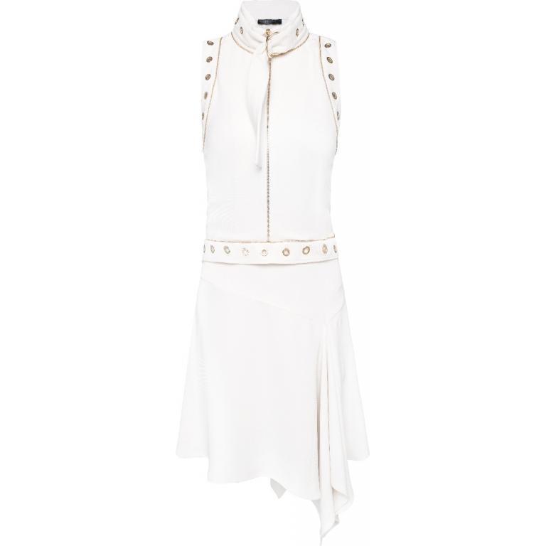 Knielanges Kleid mit asymmetrischem Rocksaum, Schnallen und Ösen-Detail-0