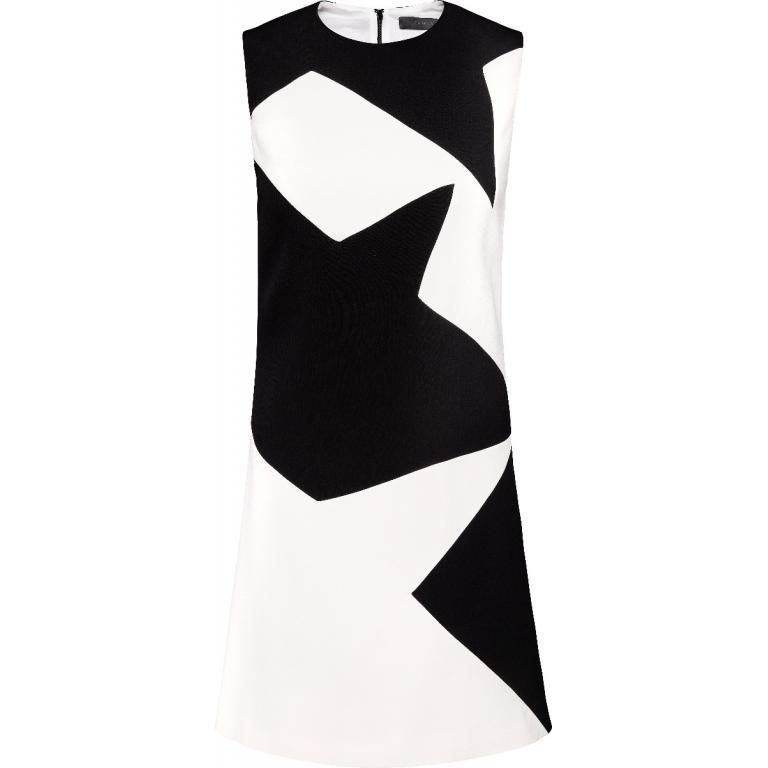 Mini-Kleid im geraden Schnitt und grafischen Two-Tone-Look-0