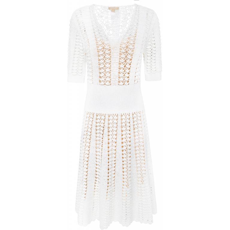 Strick-Kleid in Midi-Länge aus Stretch-Viskose mit Unterkleid in Nudeton-0