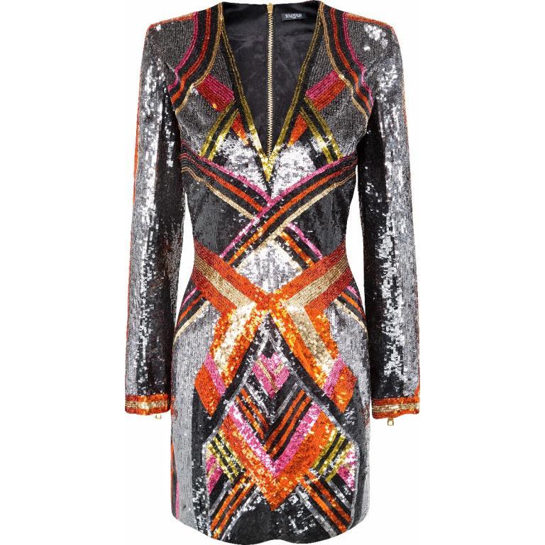 Mini-Kleid mit Allover-Pailletten-Stickereien, tiefem V-Ausschnitt und rückseitiger Zipp-Schließe-0