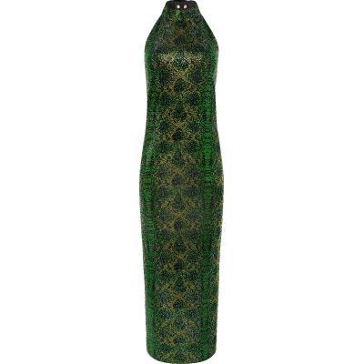 Silhouettennahes, knöchellanges Neckholder-Dress mit Allover-Glasstein-Stickereien und tiefem Rückendekolleté-0