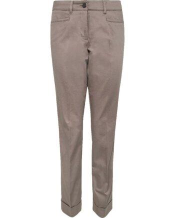 Knöchellange Hose in leichter Stretch-Baumwolle mit Bügelfalten und Stulpen-0