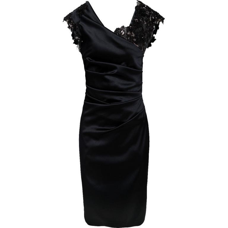 Kniebedeckendes Kleid mit Raffungen, drapiertem Dekolleté und Spitzeneinsätze-0