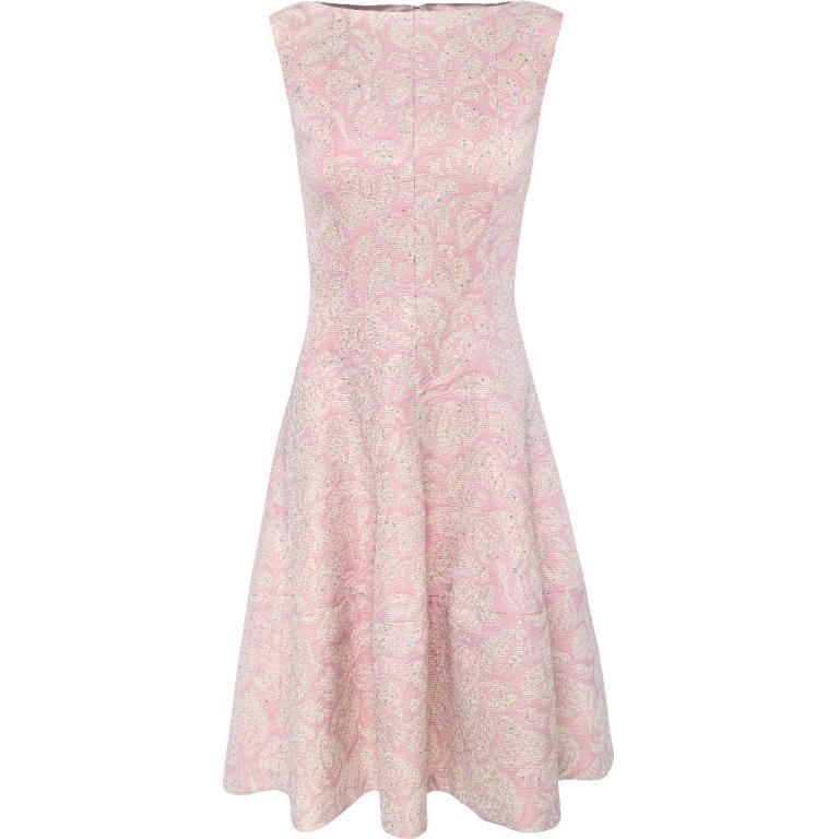 Kniebedeckendes, tailliertes Kleid mit zarter Paillettierung und ausgestelltem Tulpen-Rockteil-0