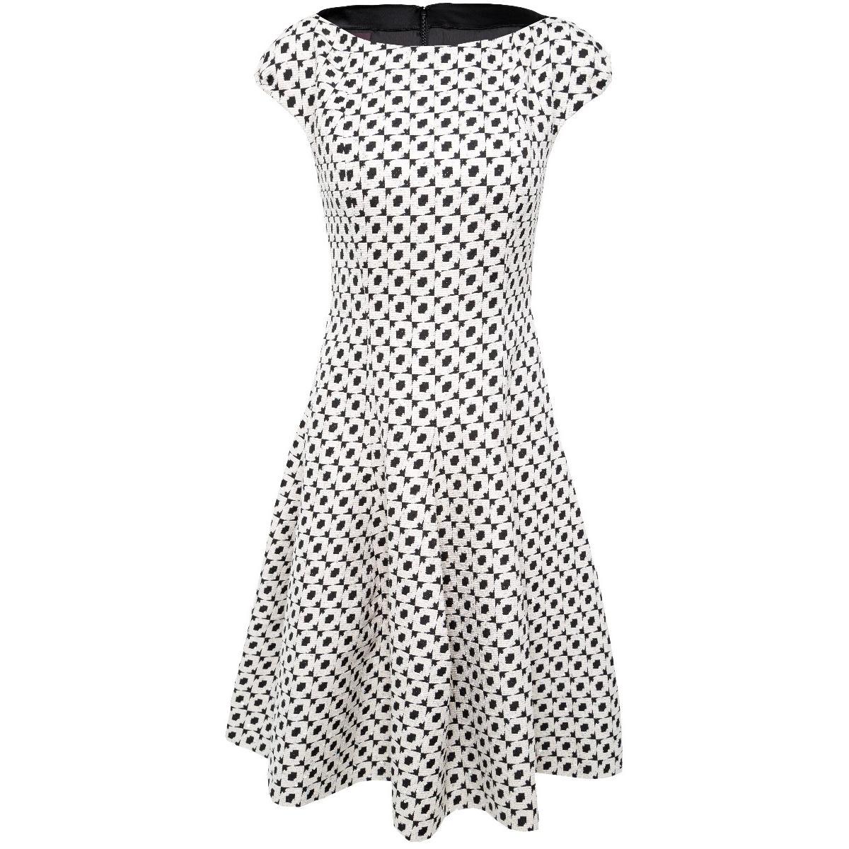 Knielanges Kleid Mit Grafischem Muster Zarter Pastell Paillettierung Bateau Ausschnitt Und Ausgestelltem Rockteil Popp Kretschmer Multibrand Fashion Store