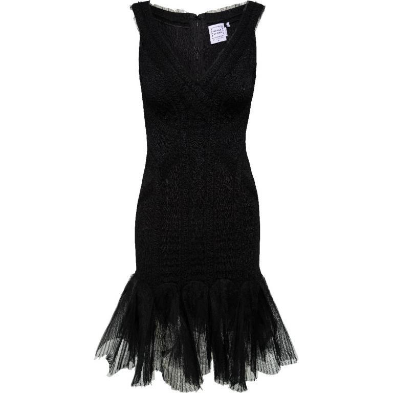 Bandage-Dress in Mini-Länge mit tief gesetztem Tüll-Rockteil-0