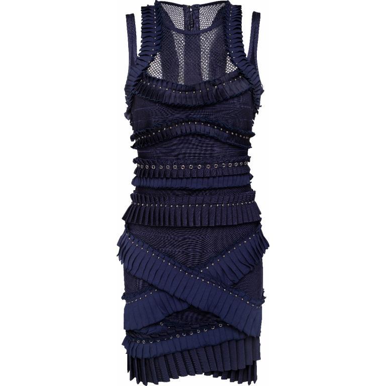 Bandage-Dress in Mini-Länge mit Ösenbesatz und Netz-Detail-0