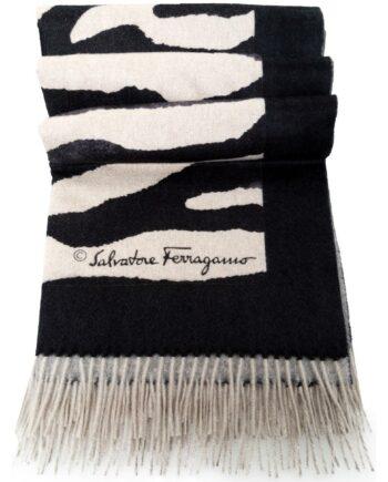 Kaschmir-Plaid mit Zebra-Musterprint und Fransen-0