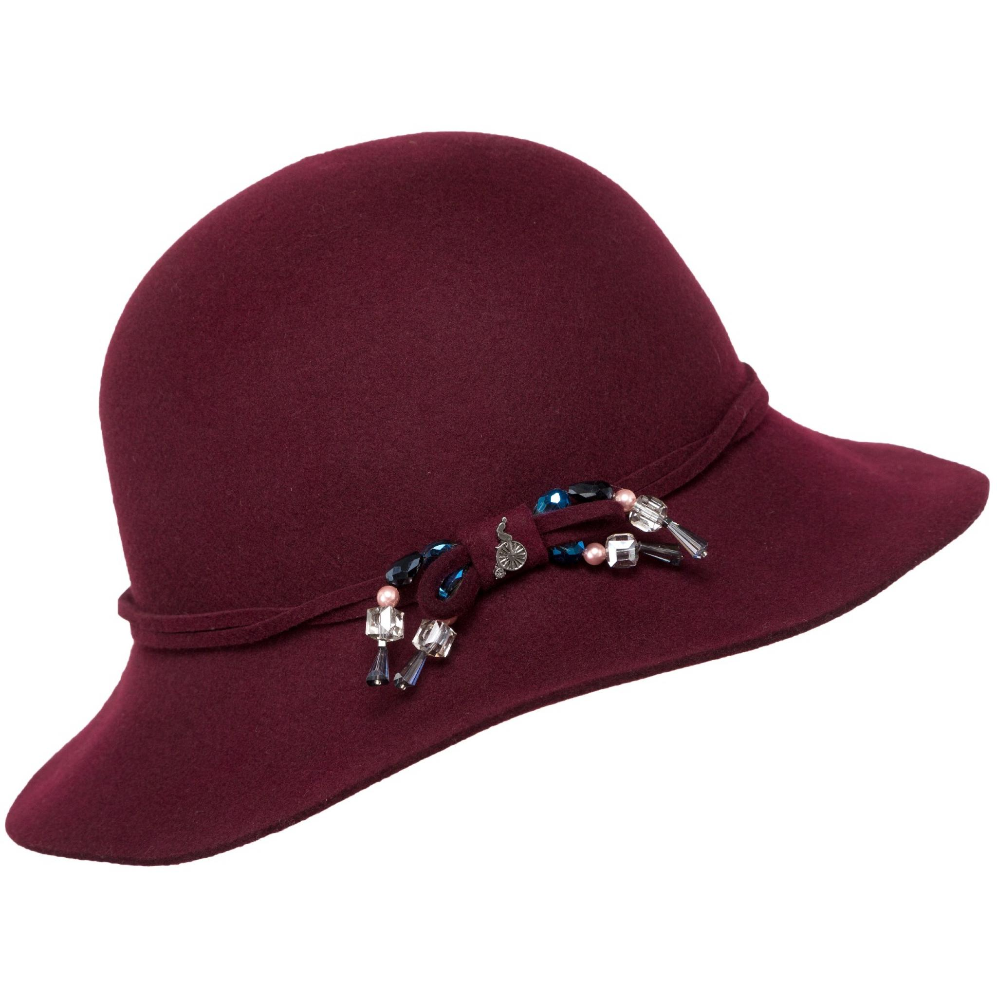 Hut aus Wolle mit ornamentaler Schleifendeko-0