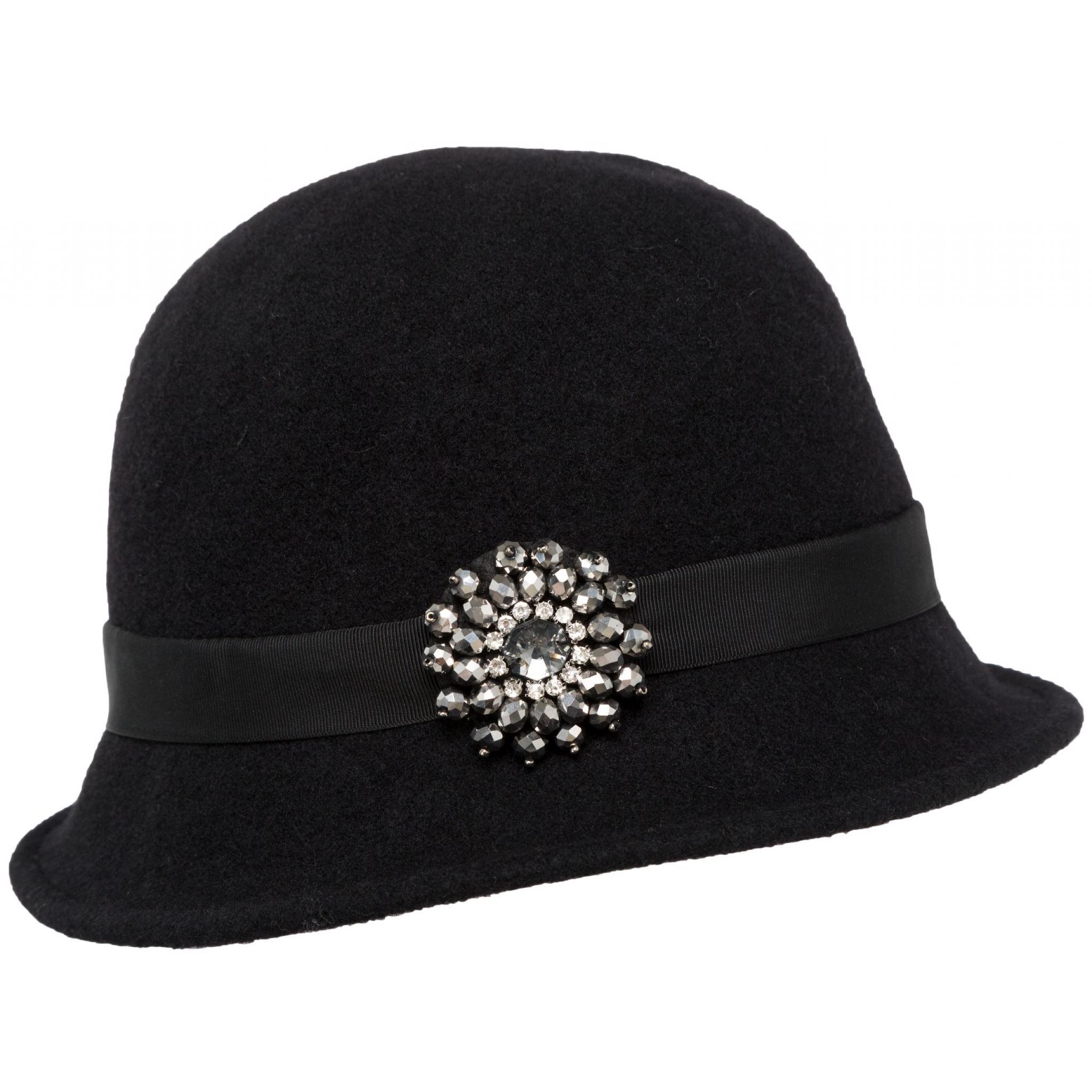 Hut aus Wolle mit Ripsband und Applikation-0
