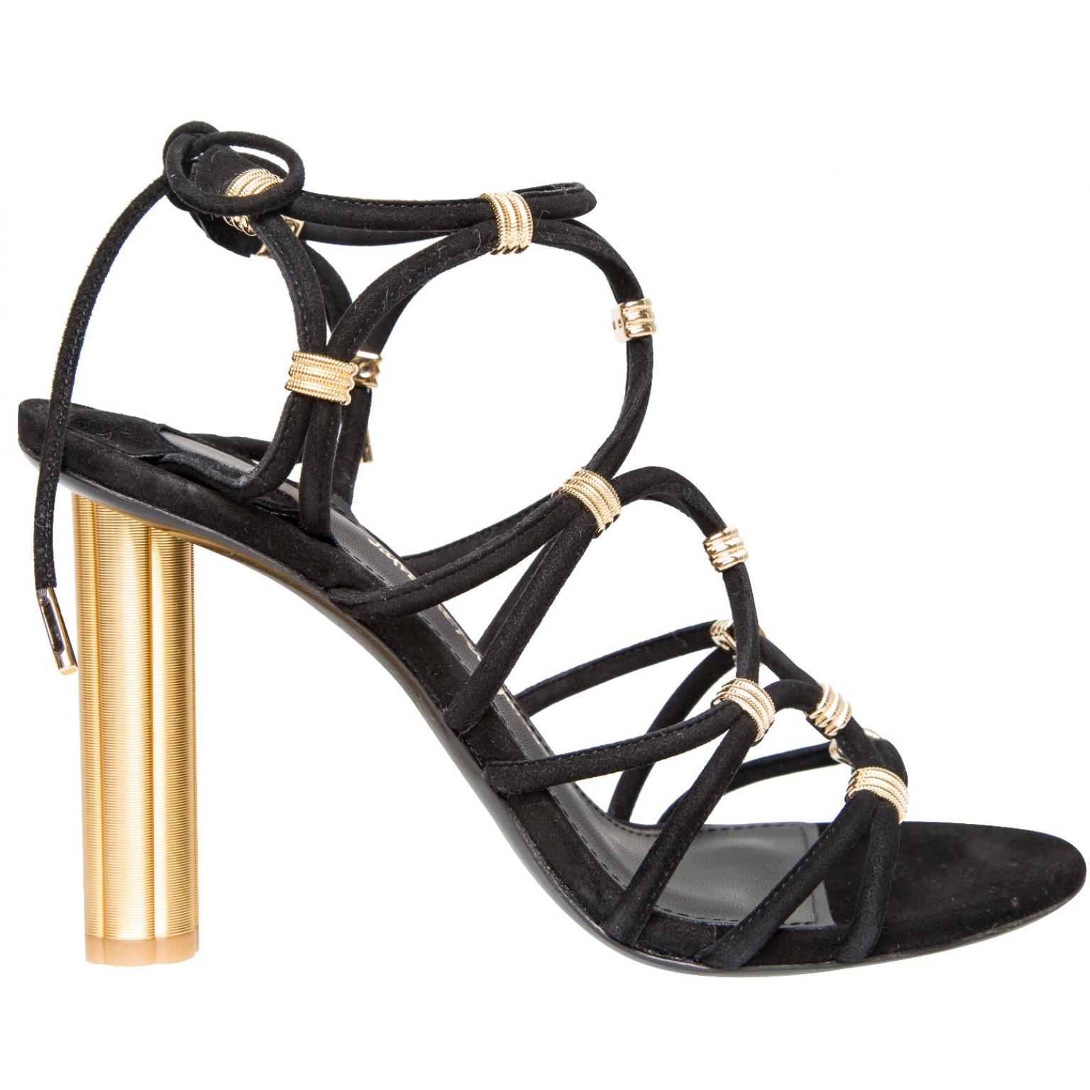 High-Heel-Sandalen mit Schnürungen und Goldabsatz-0