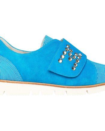 Sneakers mit Klettverschlußlasche und Kristallsteinbesatz-0