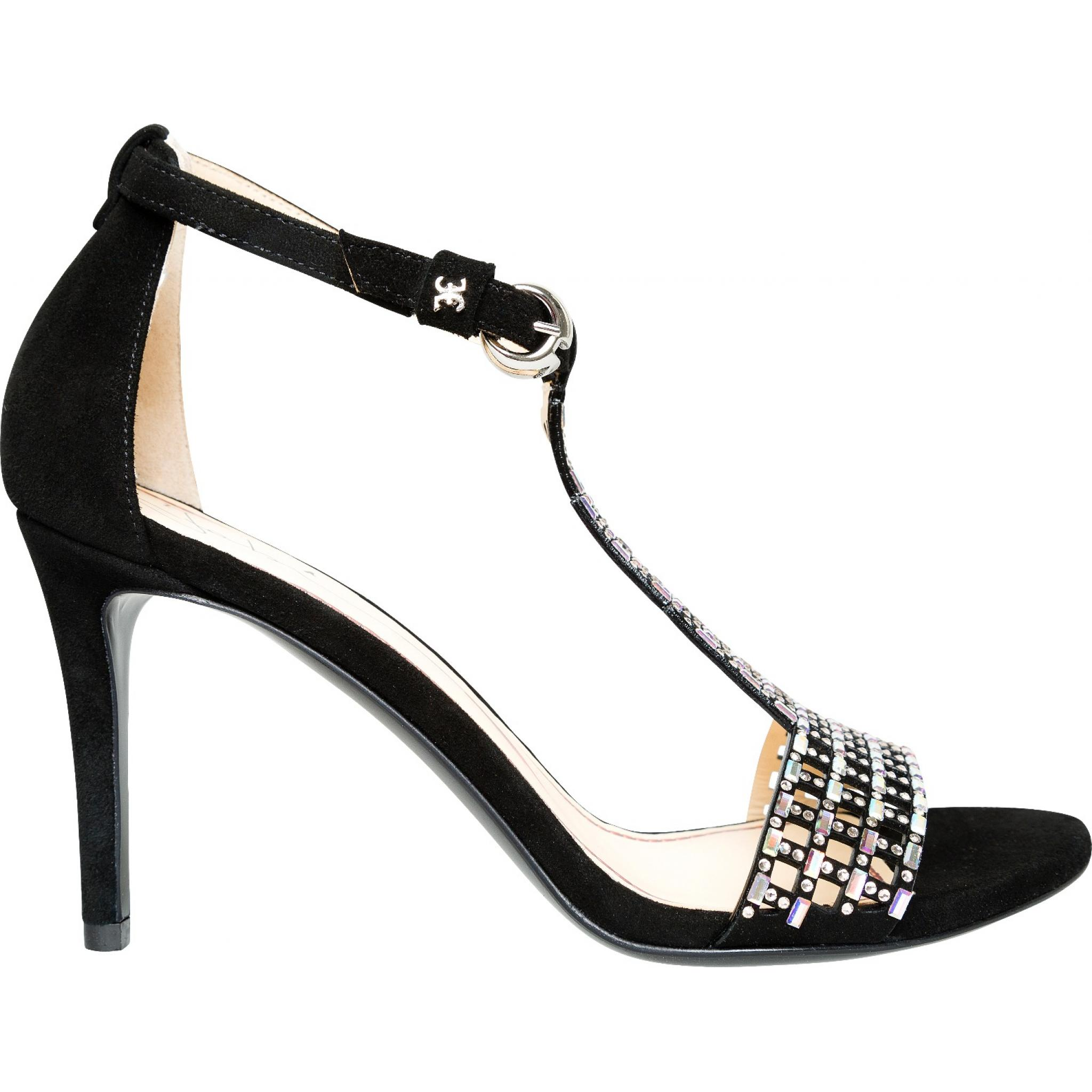 Sandaletten mit T-Strap, Fesselriemchen und zarter Schmucksteindeko-0