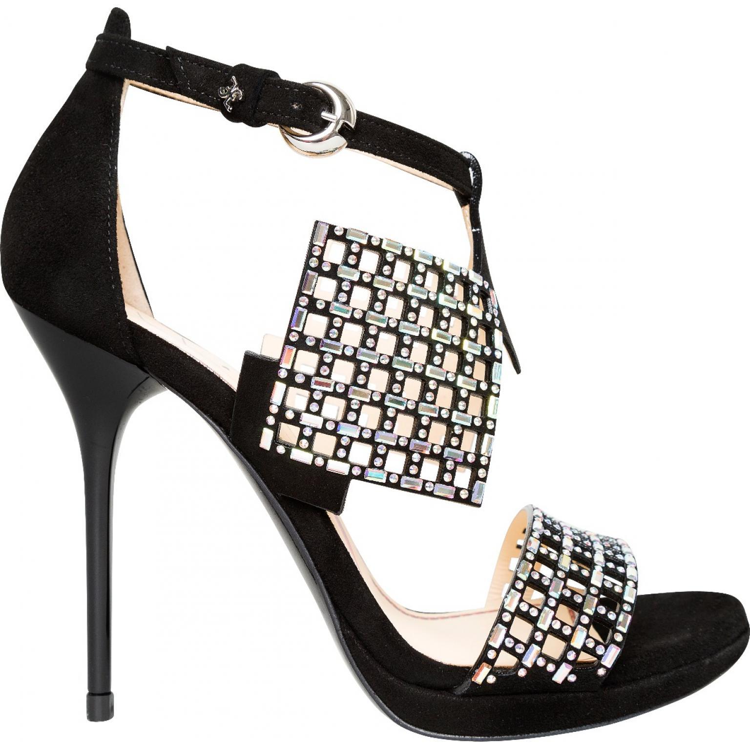 High-Heel-Sandaletten mit Fesselriemchen und zarter Schmucksteindeko-0