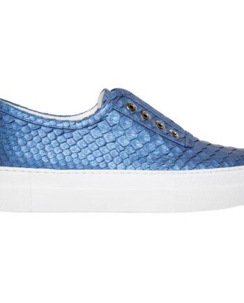 Slip-On-Sneakers in Schlangenleder mit dicker Sohle und Ösen-Details-0