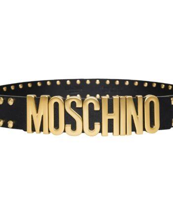 Gürtel mit Nietendeko und Moschino-Logoemblem an der Schließe-0