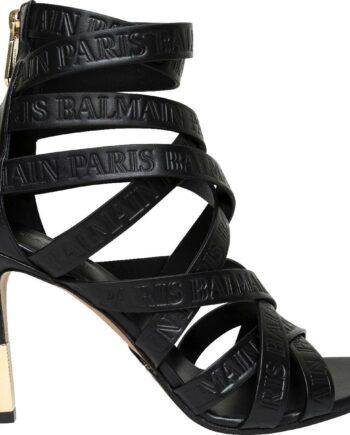 Bondage-Heels mit Relief-Logo und rückseitiger Zipp-Schließe-0