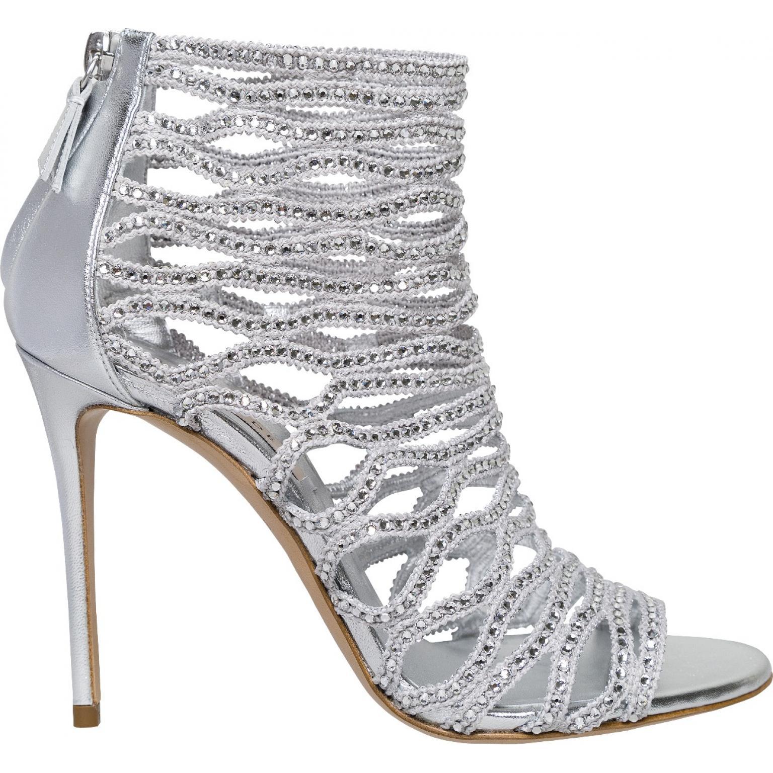 Ankle-Heels mit Peep-Toe und elastischen Riemchen mit Schmucksteindeko-0