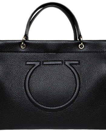 Henkel-Bag aus Glattleder mit abgestepptem Logo-Detail und integriertem Schultergurt-0