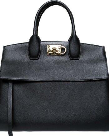 Henkel-Bag aus Glattleder mit Logo-Schließe und integriertem Schultergurt-0