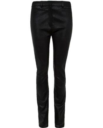 Slim-Pants in Stretch-Lammleder mit geradem Beinschnitt-0