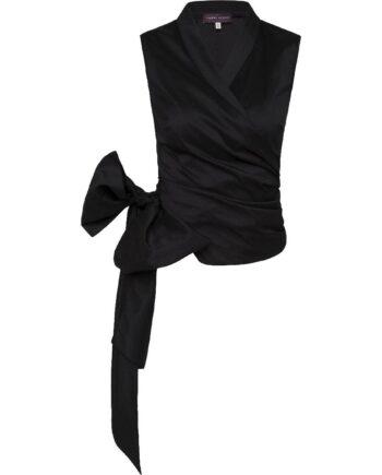Wickeloberteil im Stretch-Seidegemisch mit Kurzarm und langer Bindeschleife-0