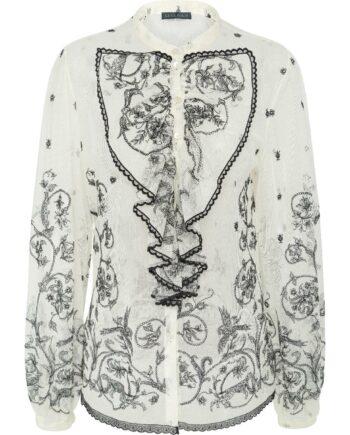 Transparente Bluse mit Spitzendetails und Volants-0