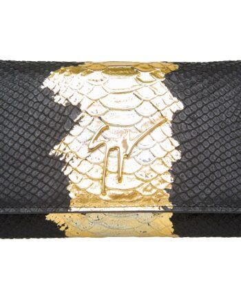 Mini-Bag mit Pythonprägung, Metallic-Verlauf und Logo-Plakette-0