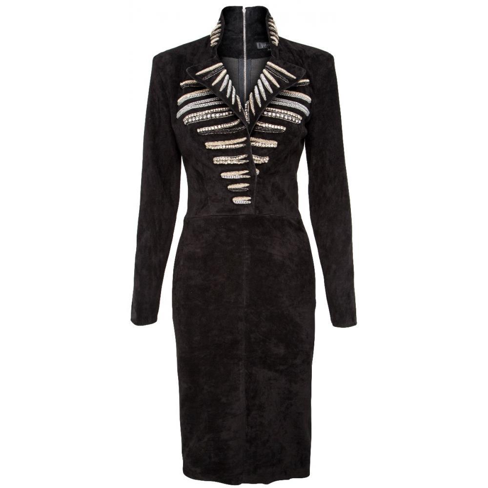 Knielanges Kleid in Stretch-Lammleder mit Stehkragen, Reverskragen und Schmuckapplikationen-133481