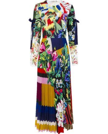 Maxi-Kleid im Mustermix-Print mit plissiertem Rockteil und Cut-Out-Details an den Ärmeln-0