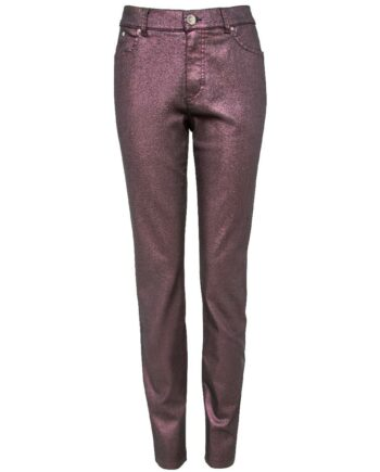 Slim-Cut-Pants in Stretch-Baumwolle mit irisierendem Metallic-Effekt-0