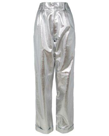 Metallic-Pants aus Lammleder mit hohem Bündchen und geradem Beinschnitt-0