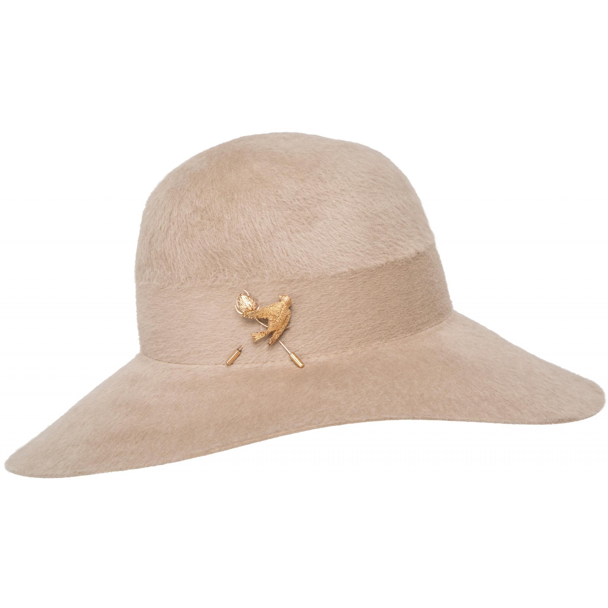 Hut aus Hasenfell mit Vogelmotiv-Broschendeko-0