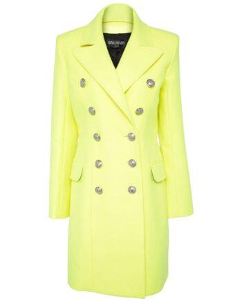 Doppelreihiger Mantel im Woll-Kaschmirmix mit Schulterpolster-0