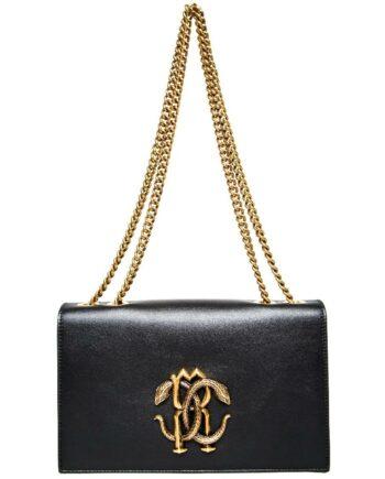 Midi-Bag mit langem Kettenhenkel und Logo-Metallapplikation-0