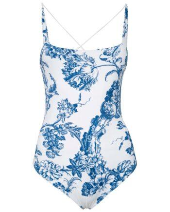 Badeanzug mit rückseitig überkreutzten Trägern und zartem Floral-Musterprint-0