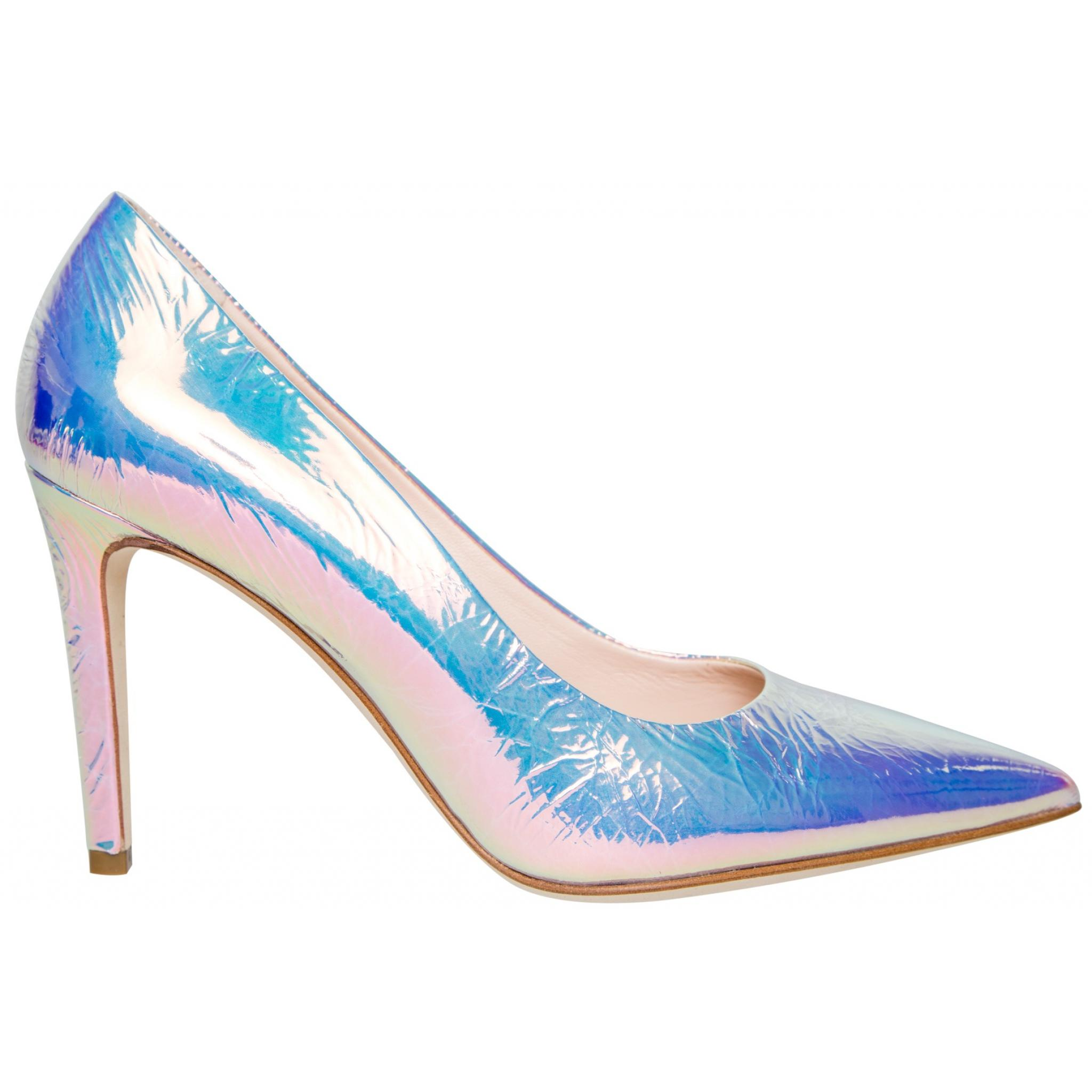 Irisierende Metallicleder-Pumps mit High-Heel-0