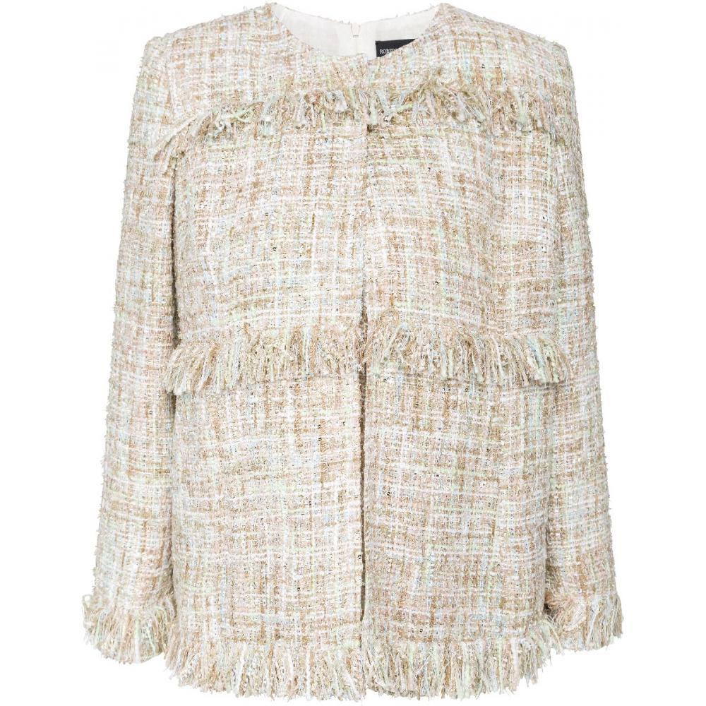 Set aus ärmellosem Tweed-Oberteil und leicht tailliertem Tweed-Blazer.-0