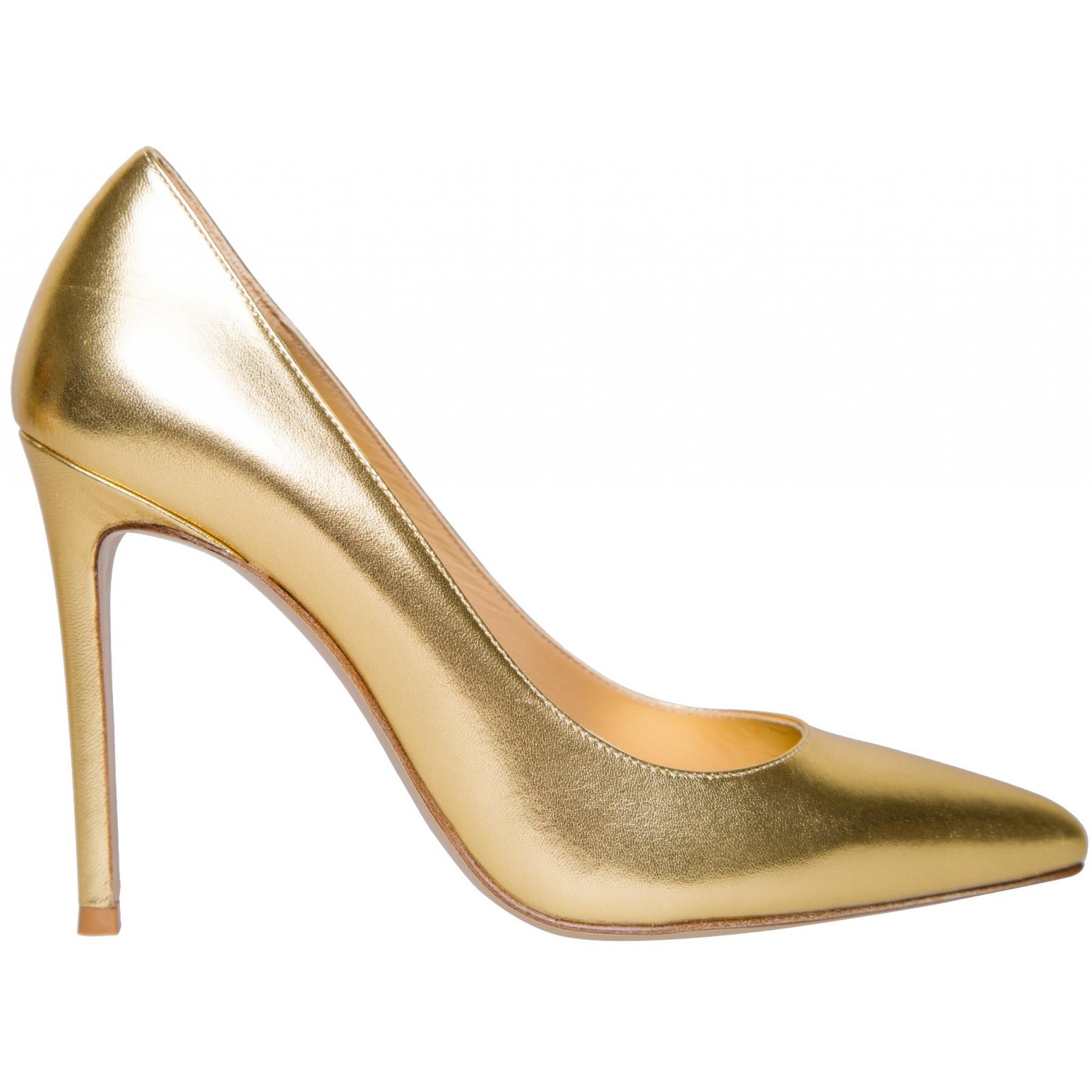 High-Heels in Metallicleder mit spitzer Zehenkappe-0
