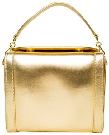 Rechteckige Metalliclederbag mit Henkel und integriertem Kettenschultergurt-0