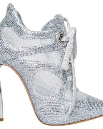 High-Heel-Booties in Metallic im Sneaker-Look mit Schnürungen-0