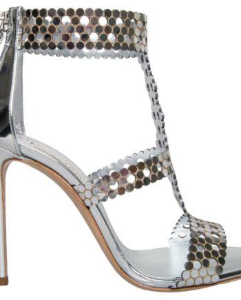 Metallic-Sandaletten mit High-Heel, breitem Fesselriemchen und rückseitiger Zipp-Schließe-0
